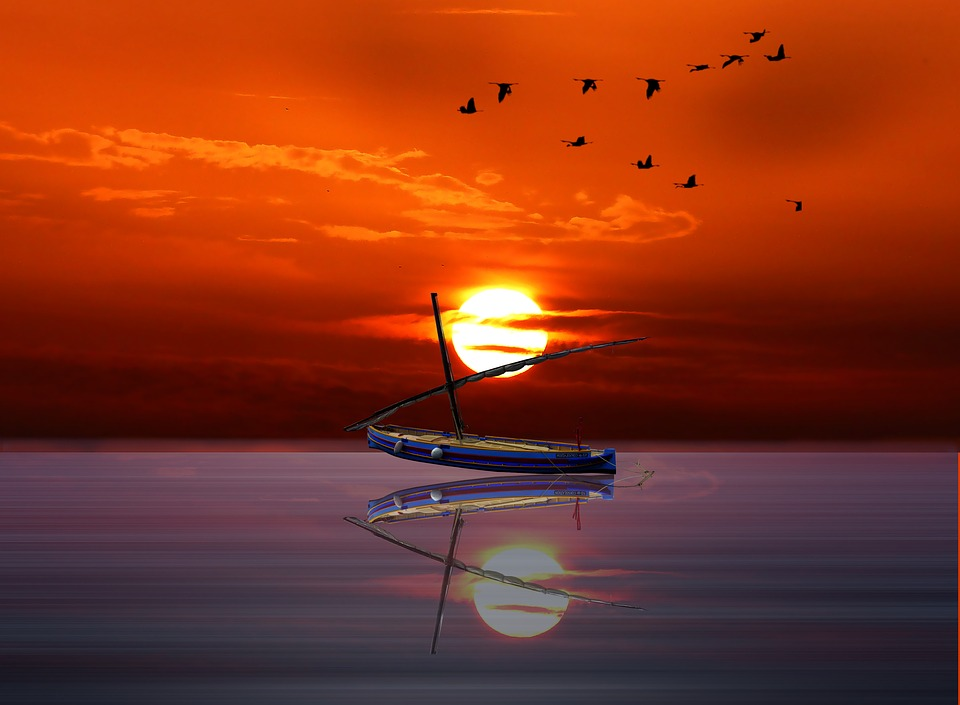 Layer Of The Sun, Ocean, Boat, Reflection, Sea, Water