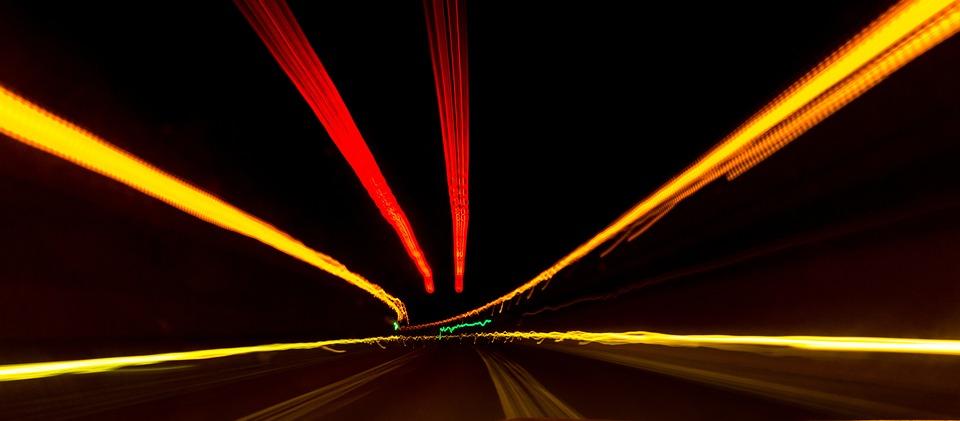 Road, Stelae, Lights, Lead, Speed, Long Exposition