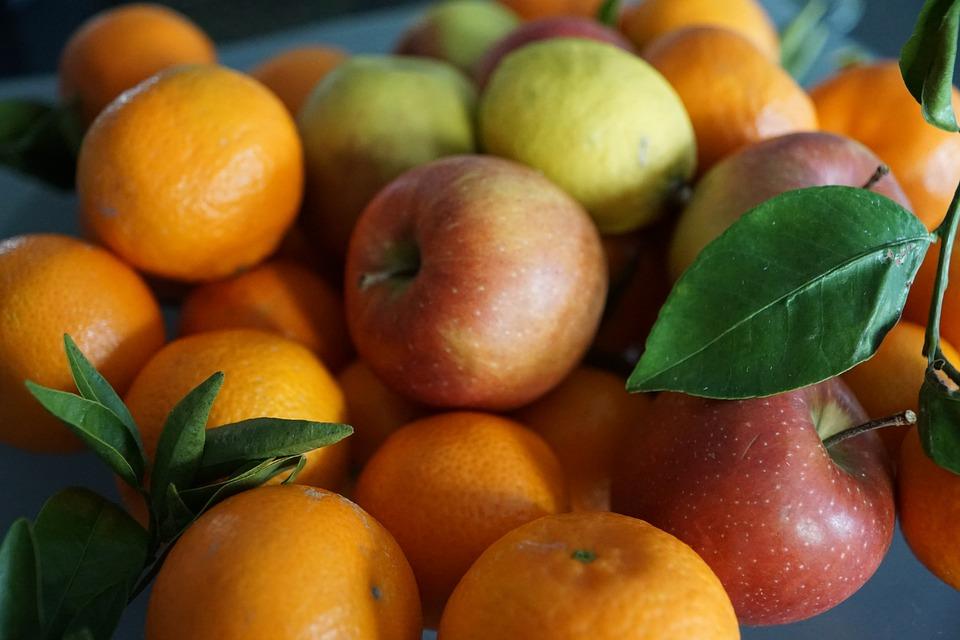 Apple, Fruit, Colorful, Eat, Leaf, Mandarin, Healthy