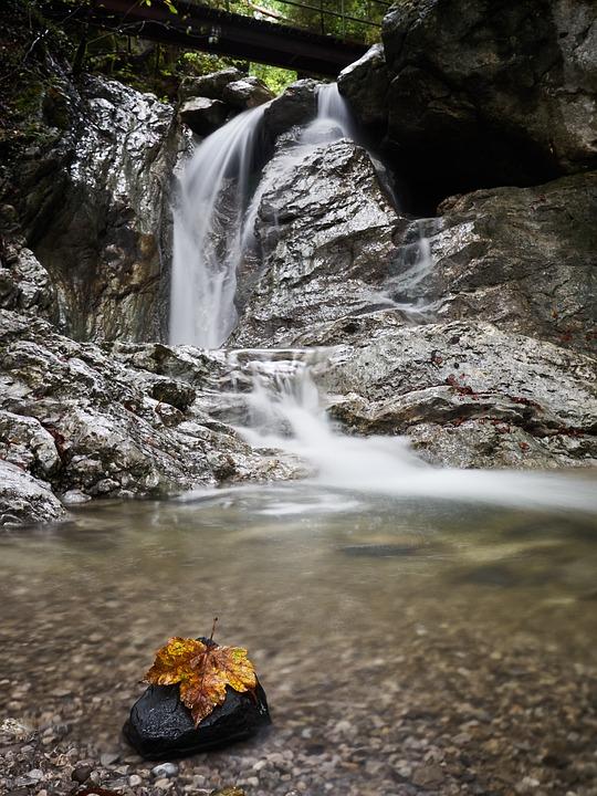 Waterfall, Leaf, Fall, Autumn, River, Stream, Cascades