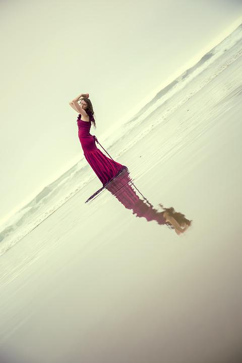 Girl, Woman, Leaning Back, Water Reflection, Falling