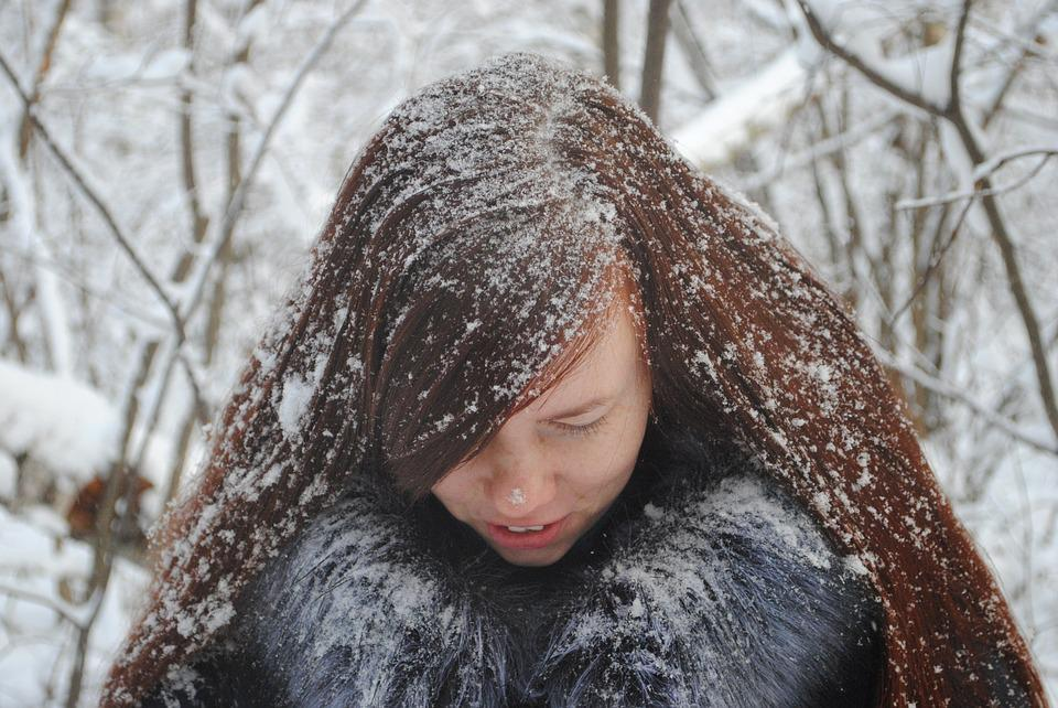 Winter, Coldly, Snow, Leann, Portrait, Woman, Hair