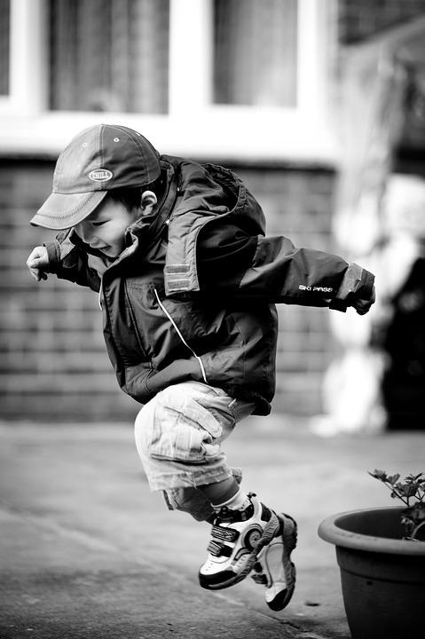 Jumping, Child, Leaping, Happy, Play, Outdoors