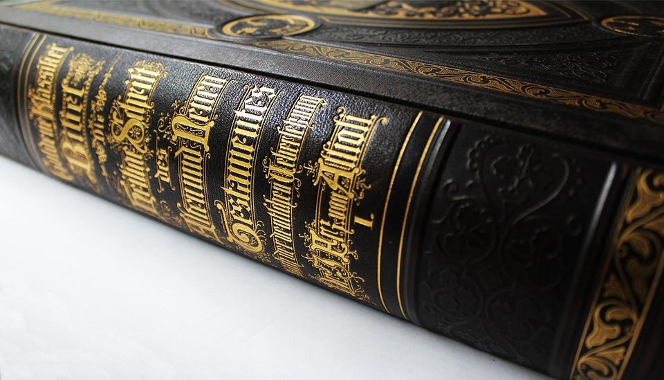 Spine, Leather Back, Gold Font, Bible, Old