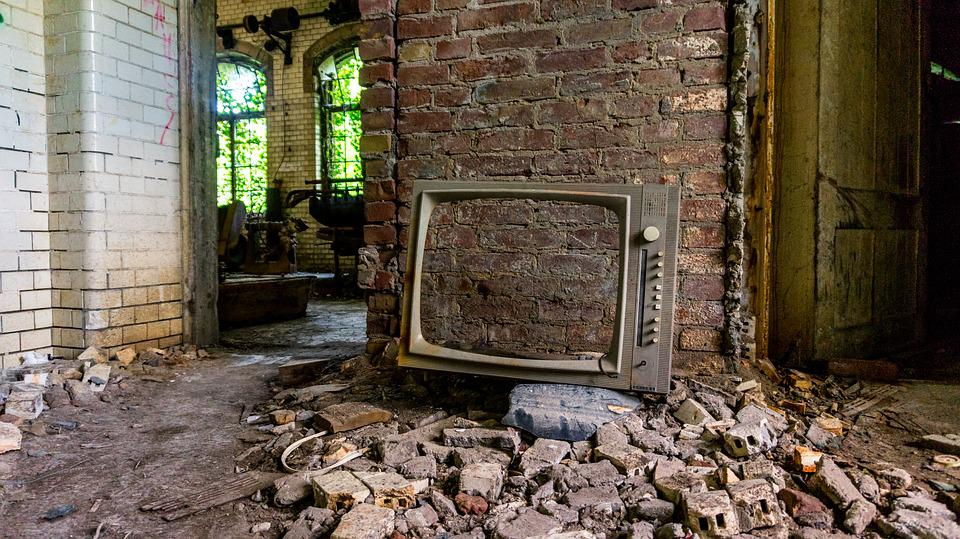 Old, Leave, Wall, Home, Brick, Stone, Door, Dirty, Tv