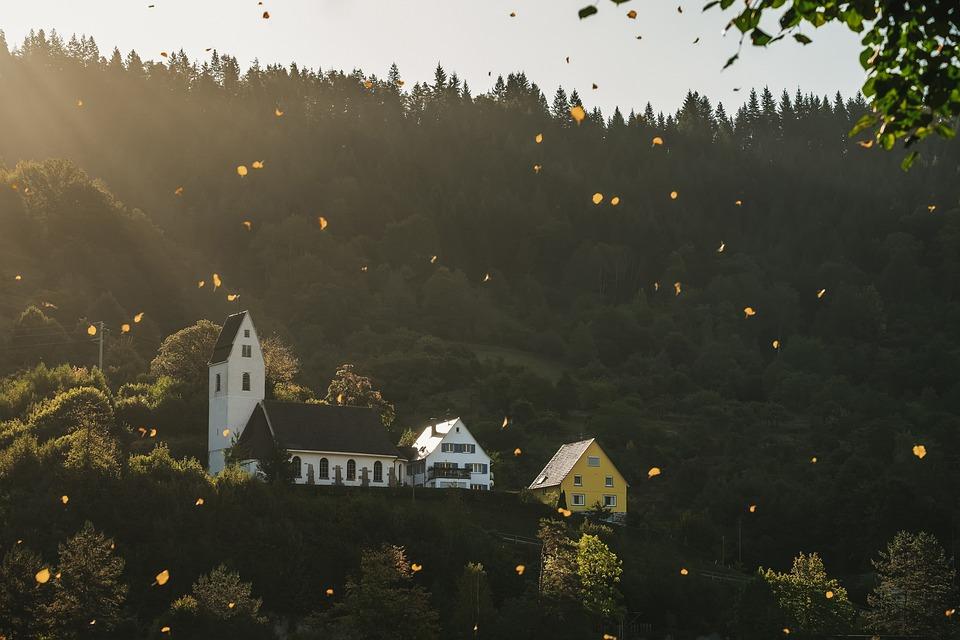 Autumn, Leaves Are Falling, Golden, Landscape, Church