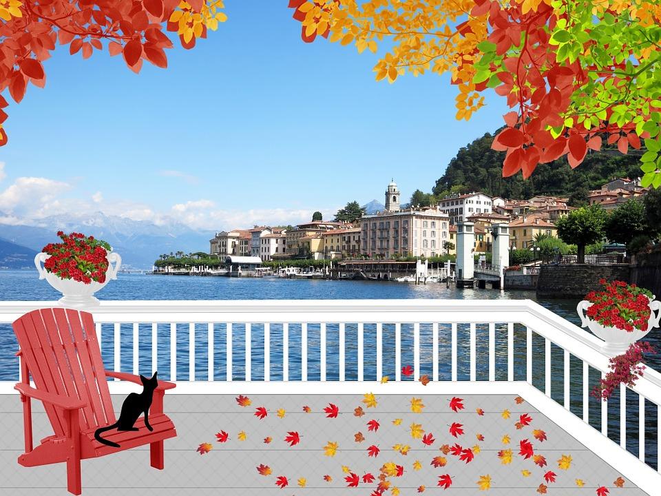 Landscape, Lake, Italy, Lake Como, Patio, Leaves, Fall