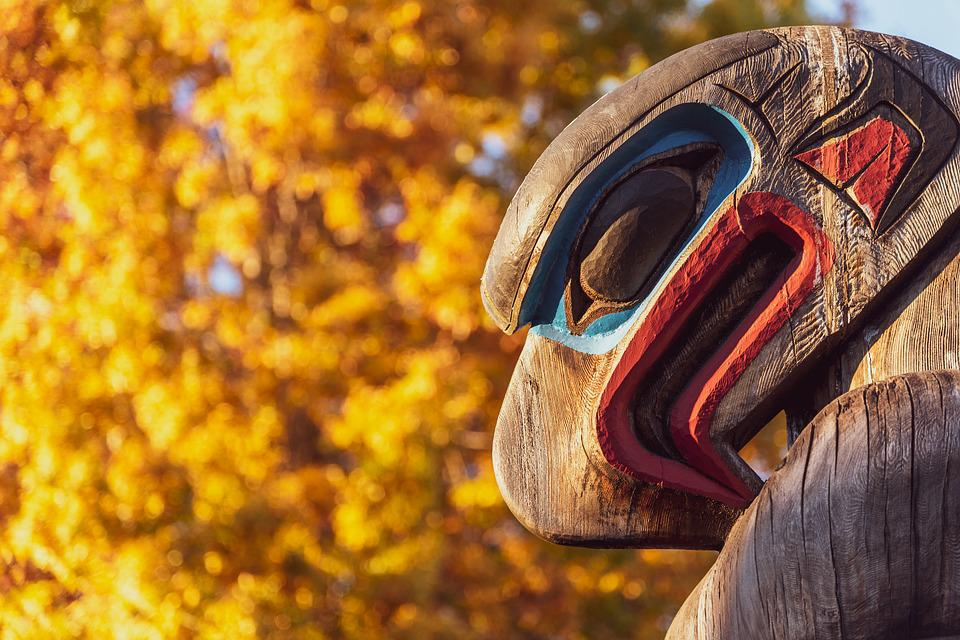 Totem, Fall, Leaves, Sunset, Eagle, Wooden, Symbol