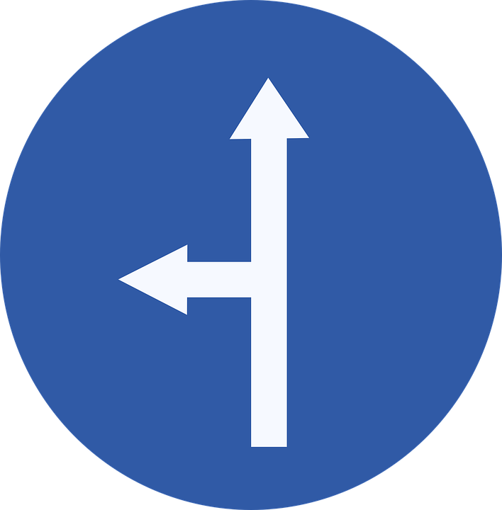 Straight, Left, Sign, Road Sign, Roadsign, Street Sign