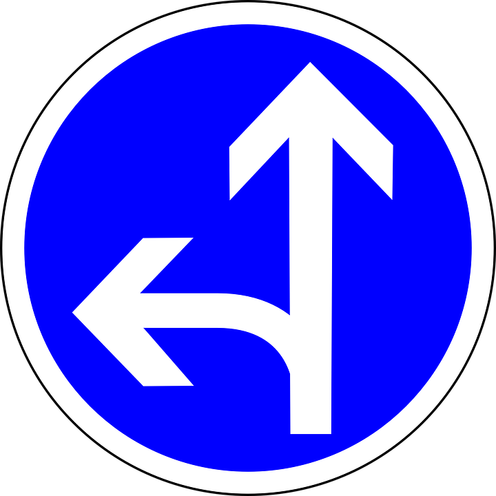 Go Straight Or Left, Straight, Left, Direction, Sign