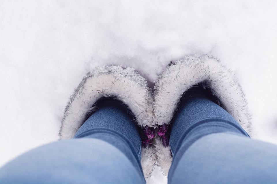 Winter, Snow, Shoes, Legs, Feet, Bird's Eye View, Boots