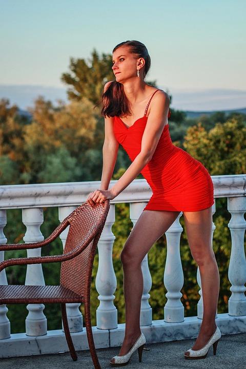 Fashion, Young Woman, Red Dress, Legs, Shoe, High Heels