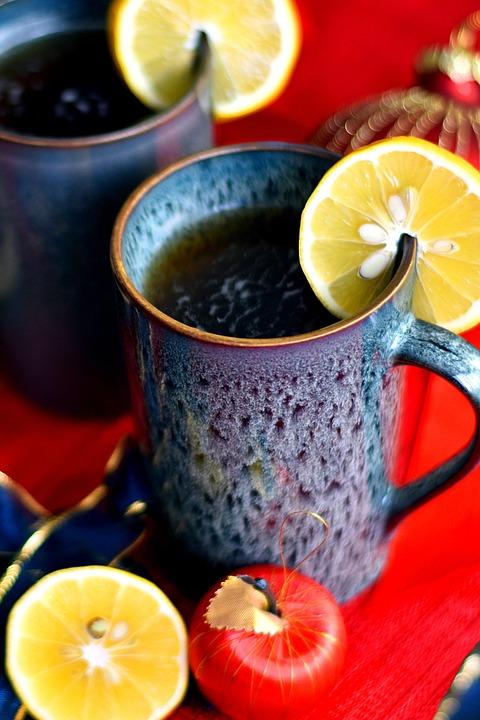 Tea, Herbal, Lemon, Slice, Mug, Cup, Blue Mug, Drink
