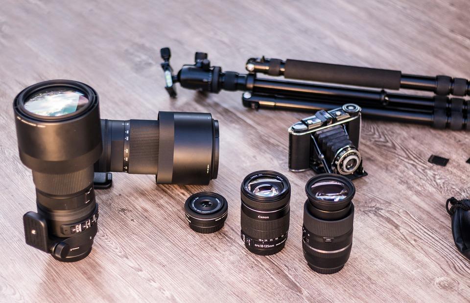 Analog Camera, Lenses, Tripod, Canon