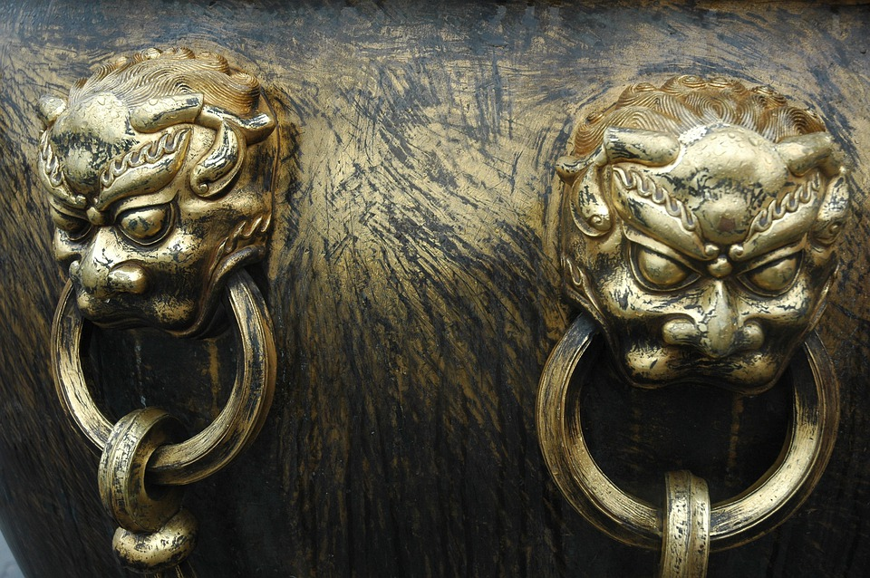 China, Leon, Ring, Yellow, Figures, Decorative, Copper