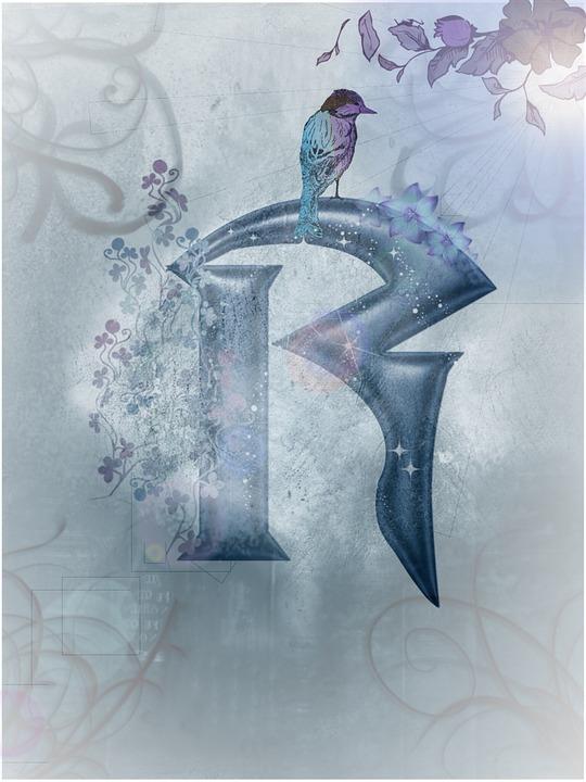 Blue, Alphabet, Letter, Bird, Ranke, Flowers, Plant