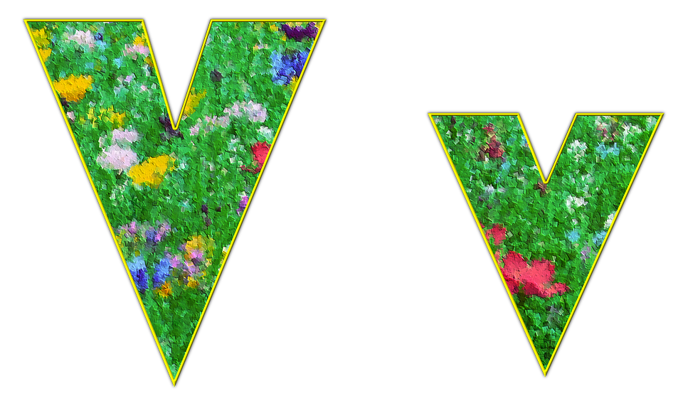 V, Letter, Alphabet, Font, Spring, Meadow, Flowers
