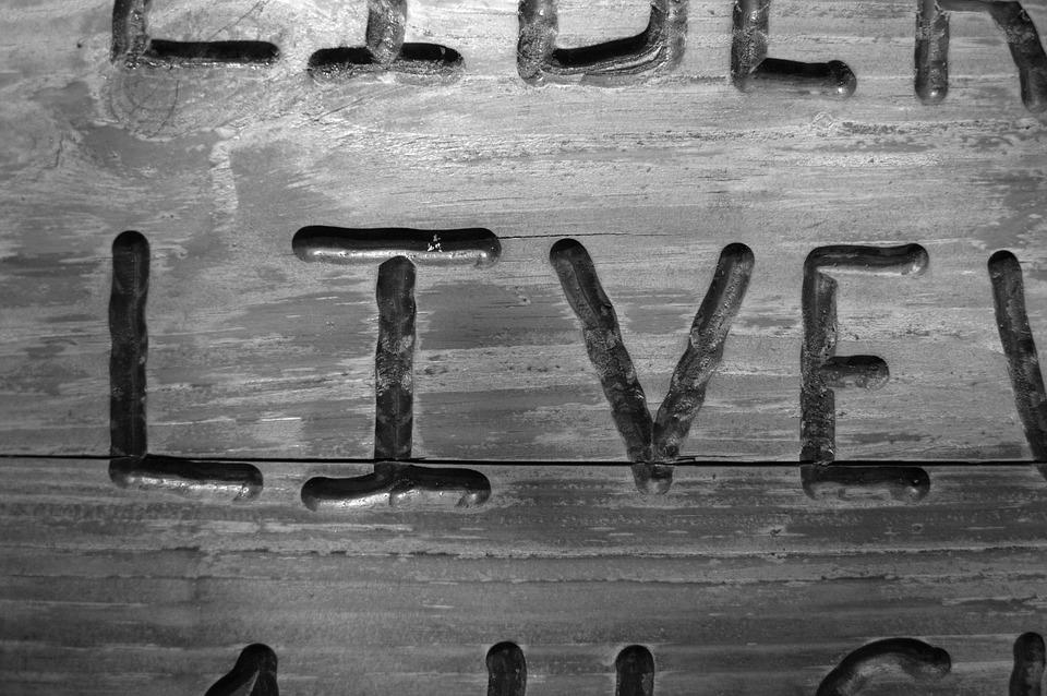 Live, Word, Art, Letters, Black And White, Decorative