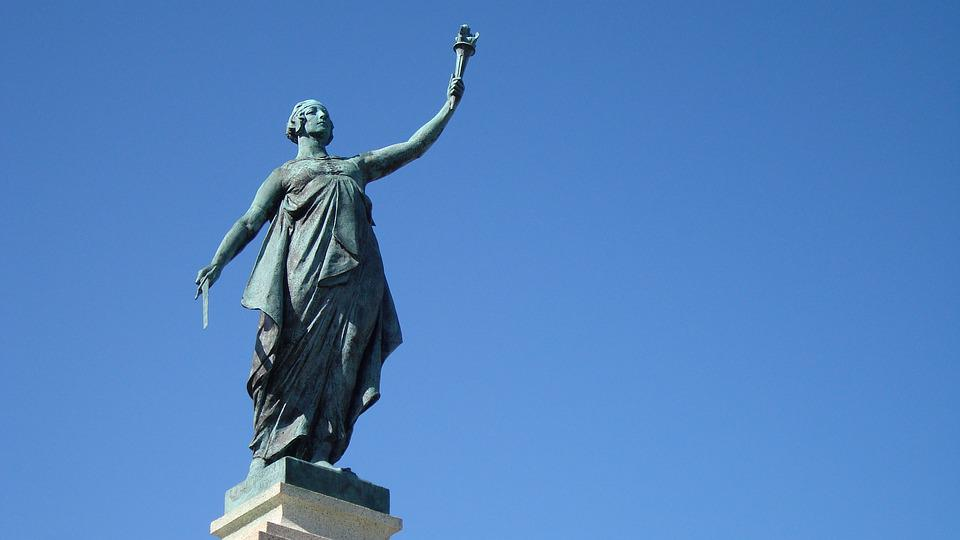 Statue, Athena, Liberty, Monument, Torch, Sword