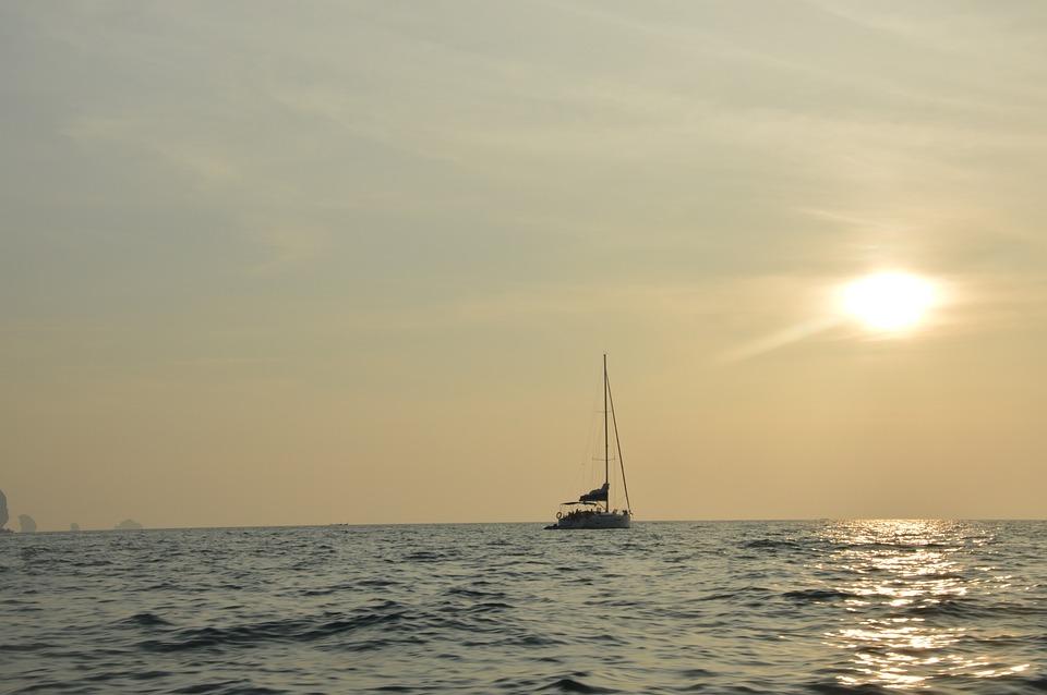 Sunset, Ship, Evening Sky, Sea, Sun, Lichtspiel, Water