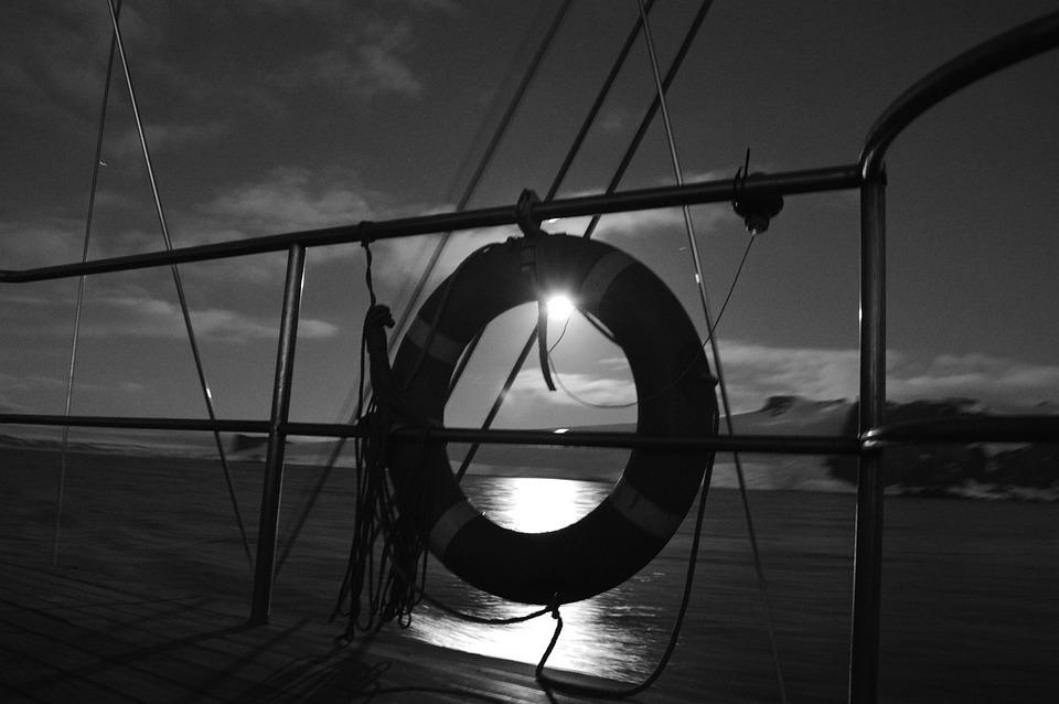 Black And White, Landscape, Sailboat, Boat, Life Guard