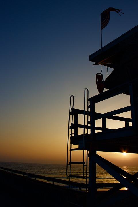 Venice Beach, Lifeguard, Sunset, California