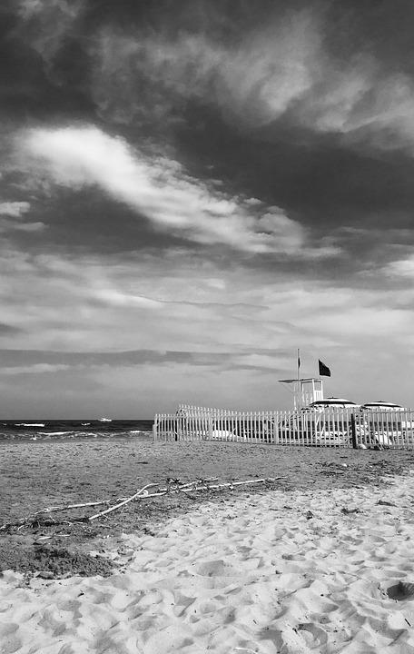 Sea, Beach, Lifeguard Tower, Flag, Picket Fence