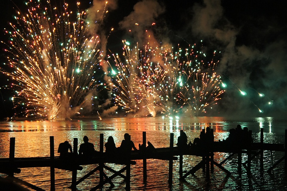 Festival, Light, Fire, Fireworks, 14 July, Night