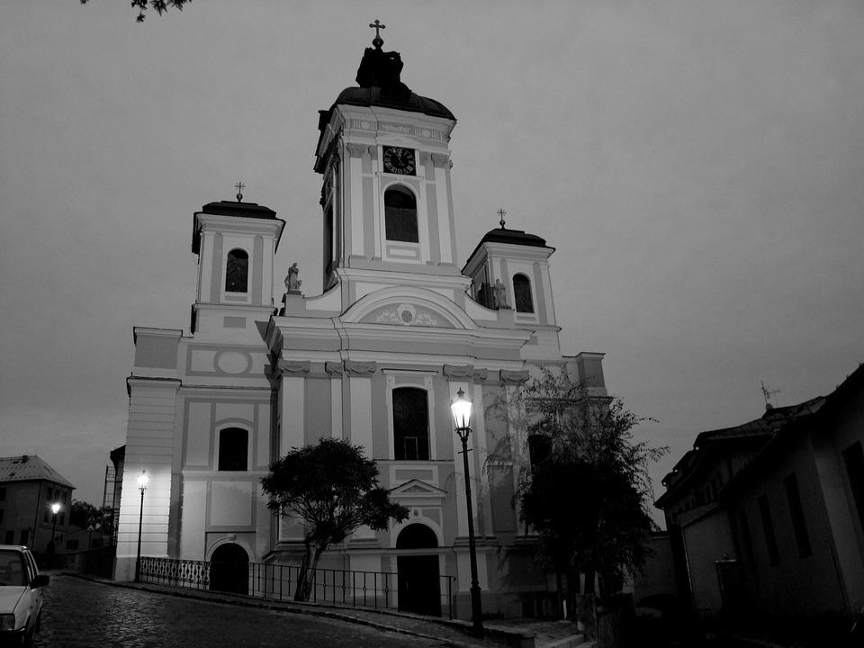 Church, Light, B W Photography, Dark, Contrast, Tree