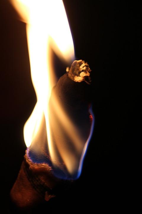 Torch, Light, Night, Dark, Black, Yellow, Hell, Fire