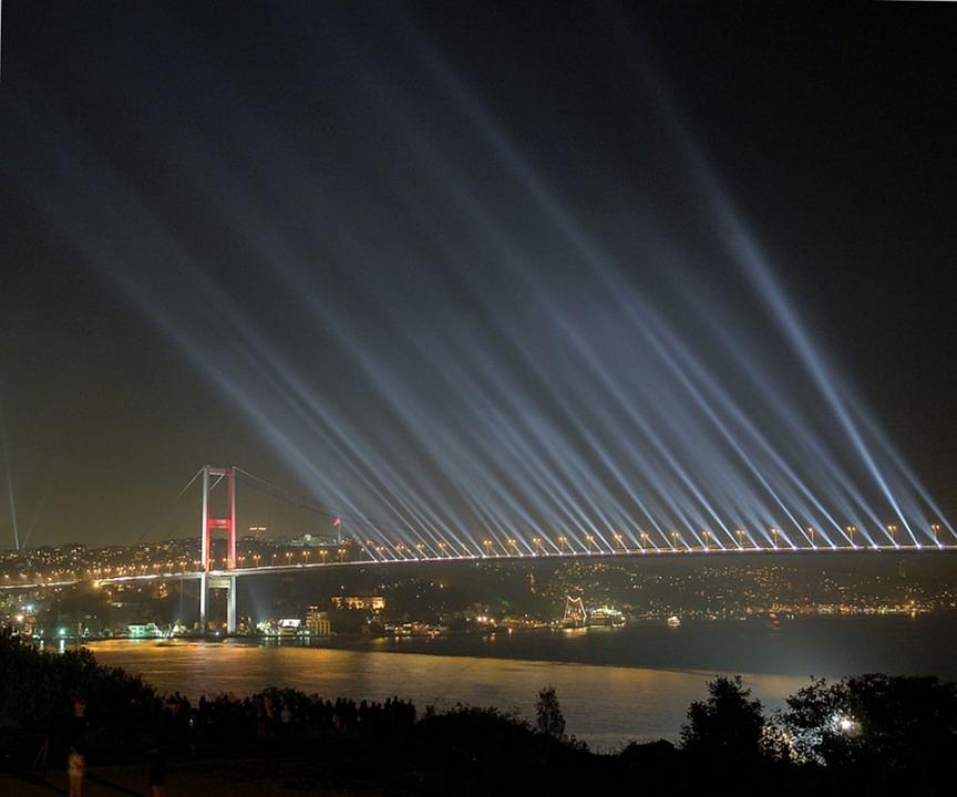Bridge, Bosphorus Bridge, Night, Light