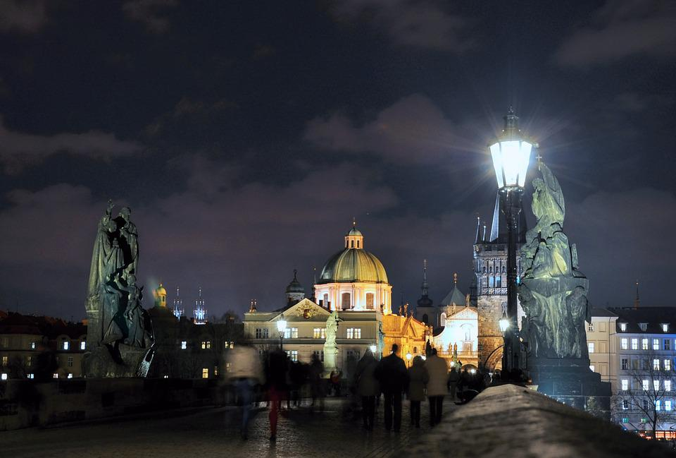 Prague, Night, Bridge, History, Light, Monument, Statue