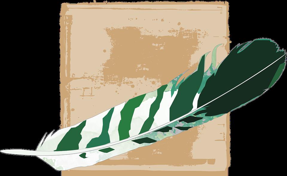 Feather, Green, Striped, Fund, Beige, Light Brown