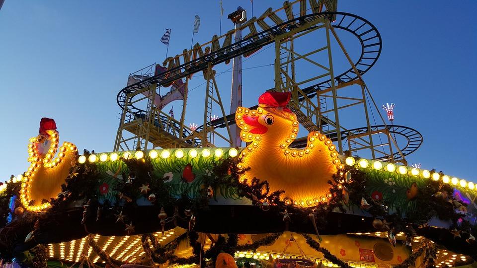 Funfair, Roller Coaster, Carousel, Duck, Light