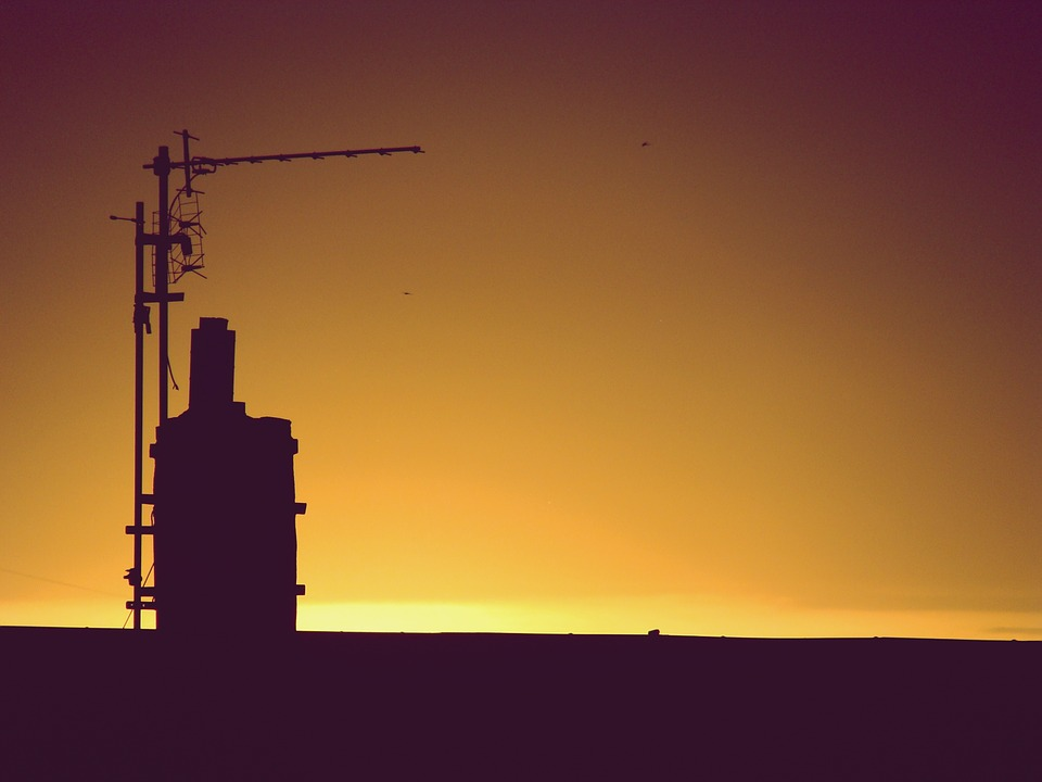 Sunset, West, Chimney, Evening, The Sun, Light, Summer