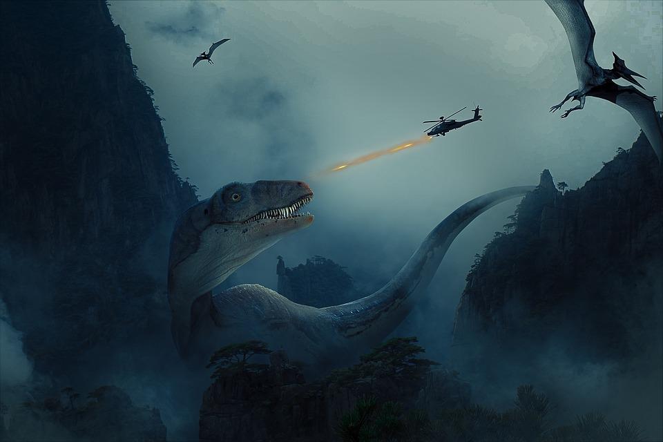 Dinosaur, Fight, Evolution, Fantasy, City, Past, Light