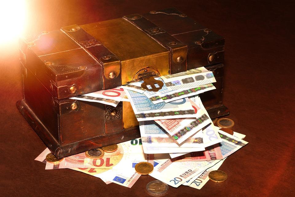 Treasure Chest, Money, Paper Money, Coins, Light