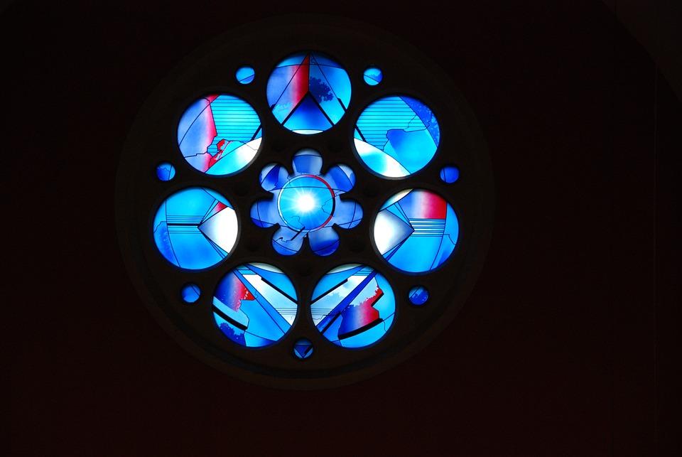 Church Window, Modern, Light, Blue, Color