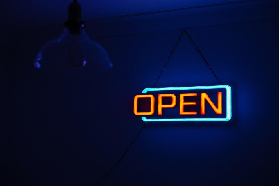 Dark, Light, Neon, Neon Sign, Open, Sign, Blue Light