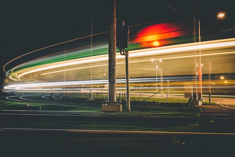 Outdoor, Railway, Dark, Night, Traffic, Light