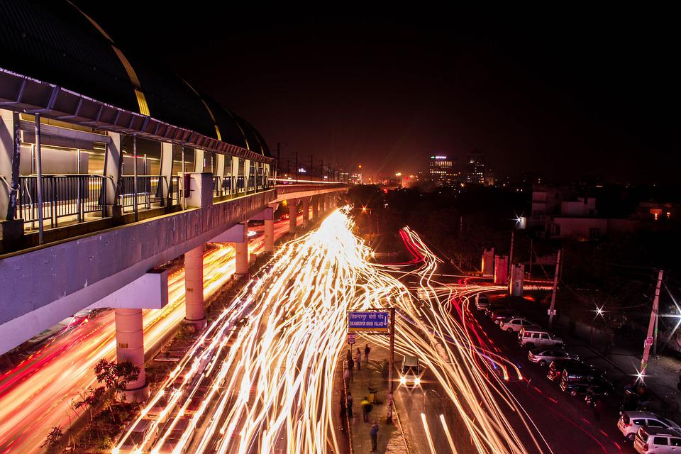Gurgaon, India, Outdoors, City, Delhi, Light, Road