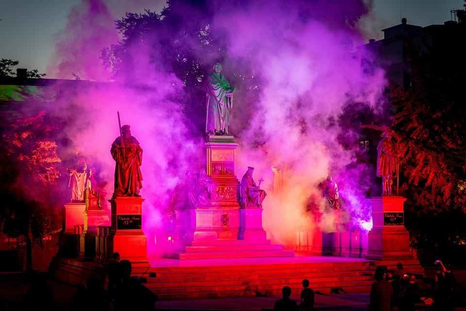 Illumination, Light Design, Fog, Luther Memorial, Worms