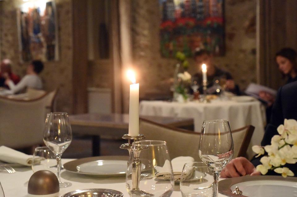 Restaurant, Table, Light, Candle, Elegant