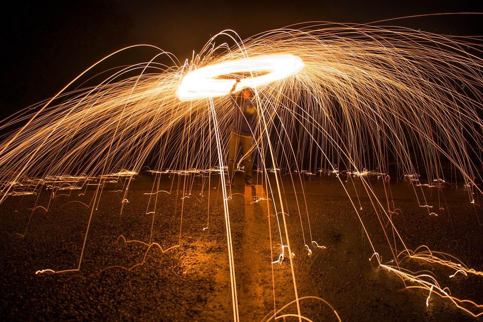 Sparks, Long Exposure, Light, Night, Dark, Steel, Fire