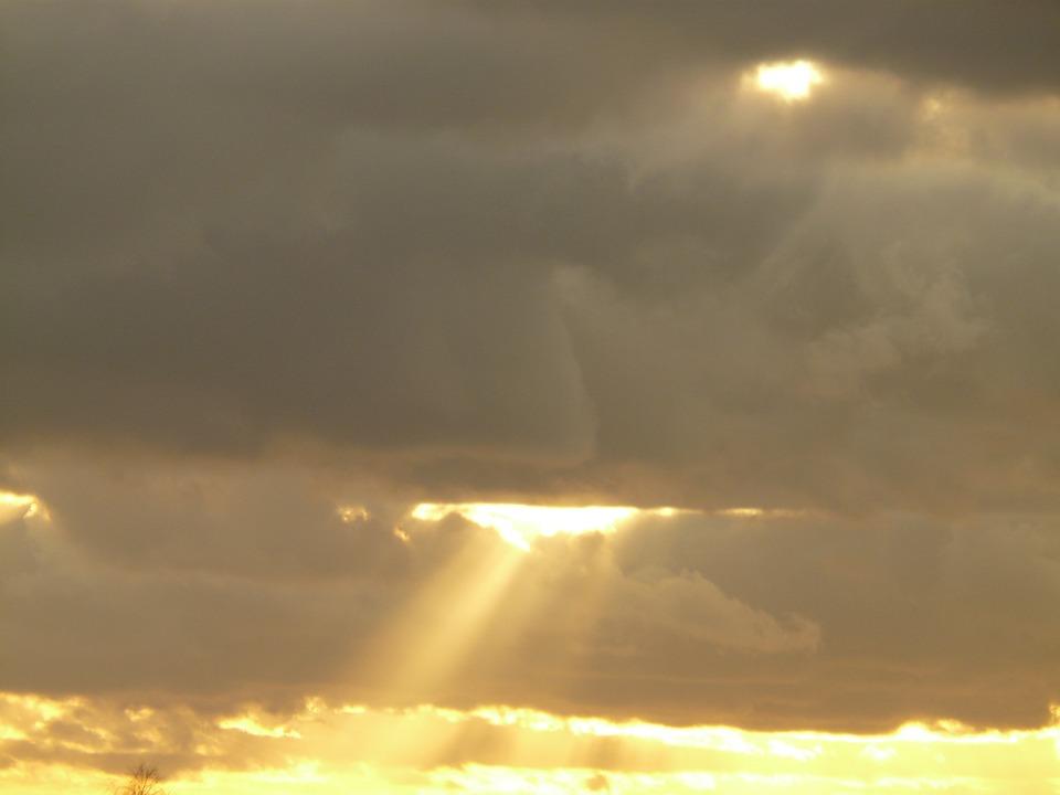 Clouds, Sky, Sun, Sunbeam, Opening, God, Faith, Light