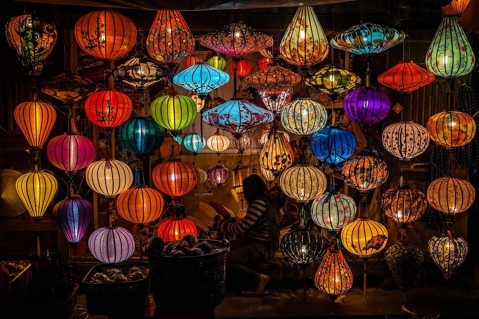 Market, Lamps, Light, Person, Hoi An, Vietnam