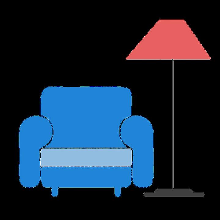 Home, Chair, Sofa, Light, Clipart, Sticker