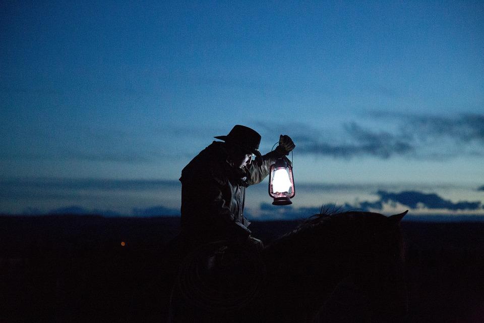 Dark, People, Man, Lamp, Light, Ride, Horse, Animal