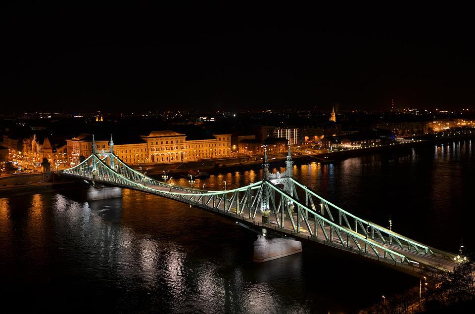 Budapest, In The Evening, Light, Bridge, Scape, Danube