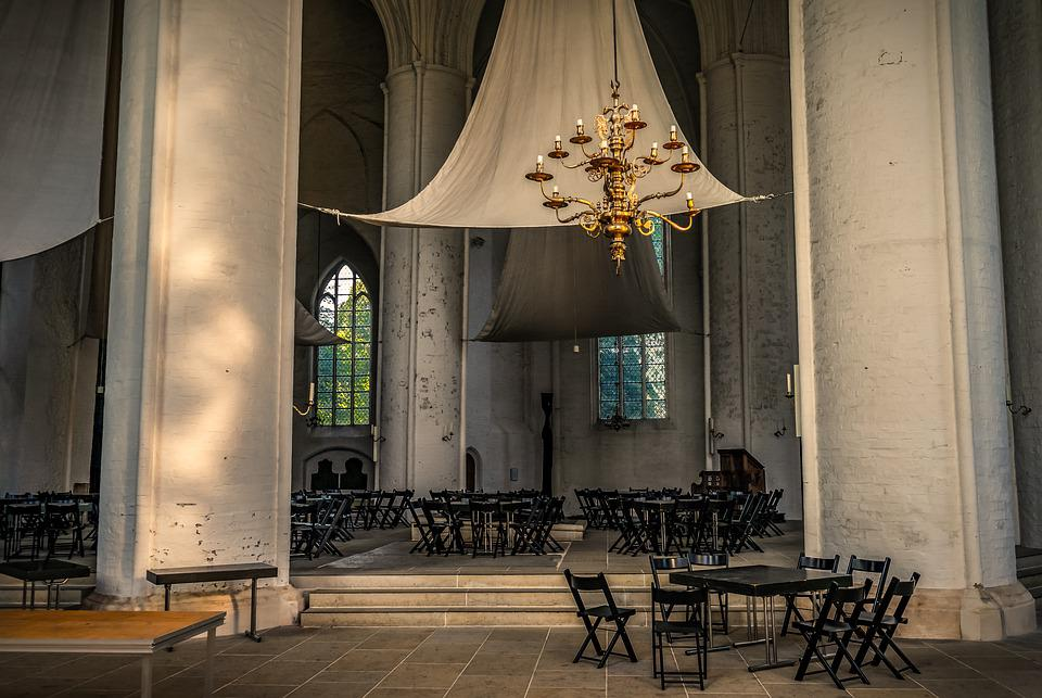 Church, Interior, Light, Sail Shade, Deco, Chairs